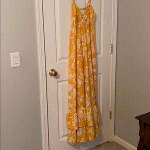 Pinkblush button down yellow maternity dress